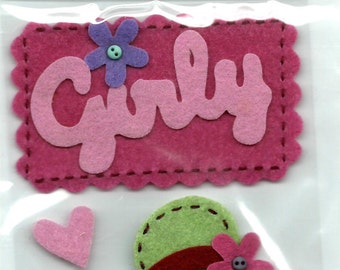 Mark Richards Brand --  Handmade Felt Dimensional Stickers  -- Girly  --  NEW  (#1034)