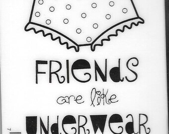 Deep Red Cling Stamps --  Friends and Underwear -- NEW -- (#2808)
