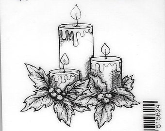 Deep Red Cling Stamps --   Holiday Candles  -- NEW -- (#2912)