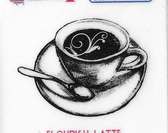 Deep Red Cling Stamps --  Flourish Latte  -- NEW -- (#3224)