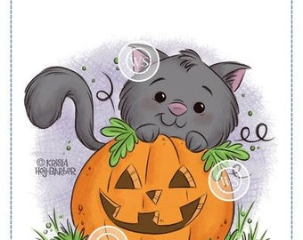 Whimsy Stamps --   Kitty 'n Pumpkin   -- NEW -- (#4006)