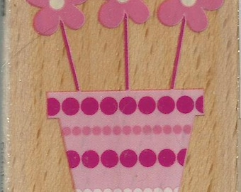 Flowers Stamp --   NEW  --  Wood Mounted Rubber Stamp --  Studio G/Hampton Arts Brand --   (#1250)