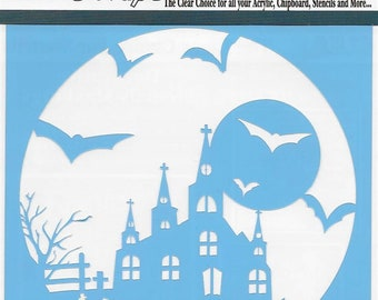 Clear Scraps Designer Stencil -- New --  Haunted House  -- (#4003)