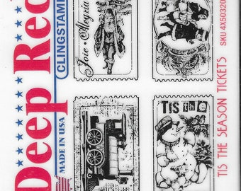 Deep Red Cling Stamps --   Tis the Season Tickets   -- NEW -- (#3465)