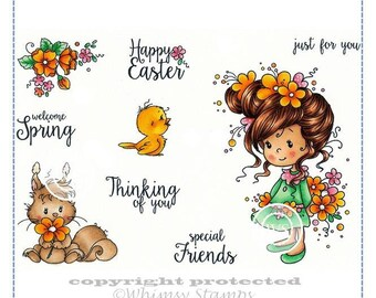 Whimsy Stamps --  Jillian and Friends  -- NEW  -- (#2884)