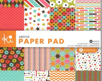 6 x 6  Paper Pad  ~~  Argyle  ~~   Double sided paper  ~~  NEW  (#1357)