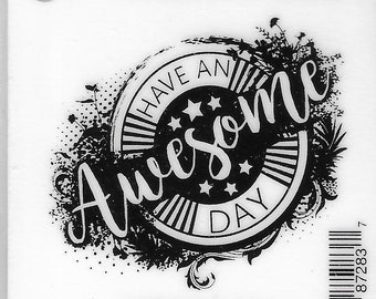 Deep Red Cling Stamps --     Awesome Day   -- NEW -- (#3843)