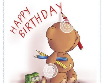 Whimsy Stamps -- Teddy Birthday Message  -- NEW -- (#2474)