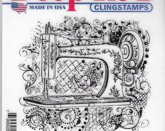 Deep Red Cling Stamps --  Sewing Machine Flourish   -- NEW -- (#3268)