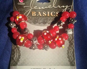 Cousin Brand  --  Jewelry Basics  --  29 piece Glass Red Beads   --   NEW  --   (#1339)