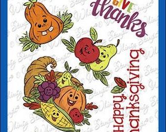 Whimsy Stamps --  Thanksgiving Cornucopia    -- NEW  -- (#4093)