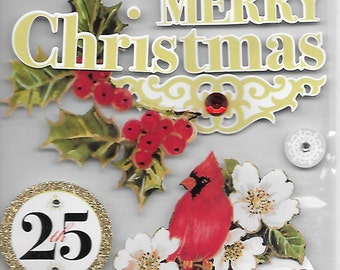 Me & My Big Ideas Brand -- Dimensional Embellishments  -- Merry Christmas  --  NEW  (#1537)