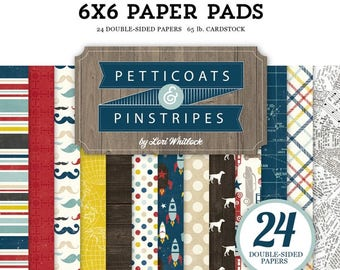 6 x 6 Paper Pad ~ Pinstripes ~ Double sided  NEW  (#2560)