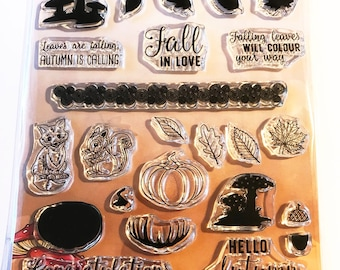 Yvonne Creations -  NEW -  (#3279) - Fabulous Fall Clear Stamp set