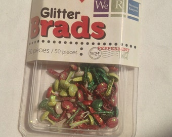We R Memory Keepers Brand --  Mini Glitter Brads  --  50 pieces  -- Peppermint Twist --  NEW  -- (#1701)