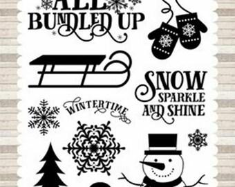 Echo Park Cling Stamps --  Winter Wonderland  -- NEW -- (#3950)