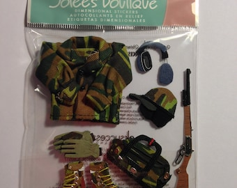 Jolee's Boutique --  Hunting   --  8 pieces  --   dimensional stickers -- NEW   (#1503)