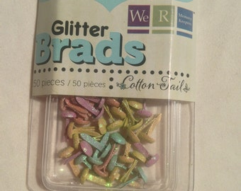 We R Memory Keepers Brand --  Mini Glitter Brads  --  50 pieces  --  Cotton Tails  --  NEW  -- (#1774)