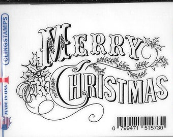 Deep Red Cling Stamps --  Vintage Merry Christmas -- NEW -- (#2908)