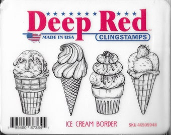 Deep Red Cling Stamps --   Ice Cream Border    -- NEW -- (#3864)