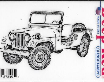 Deep Red Cling Stamps --    Vintage Military Jeep   -- NEW -- (#3410)