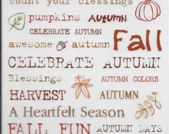 Rub On's -- Craft n Craftin' Brand - Fall Words Rub On's -- NEW -- Self Adhesive Rub Ons -- (#1739)