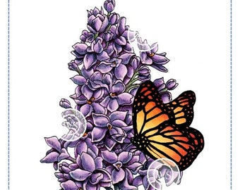 Whimsy Stamps -- Lilac and Butterfly -- NEW -- (#2702)