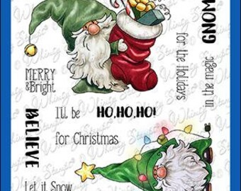 Whimsy Stamps --  Gnome for the Holidays     -- NEW  -- (#4098)