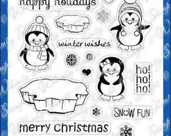Whimsy Stamps --  Penguins Winter Adventure   -- NEW -- (#4015)