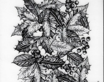 Deep Red Cling Stamps -- Holly Background -- NEW -- (#3270)