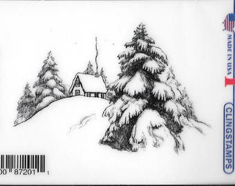 Deep Red Cling Stamps -- Mountain Cabin  -- NEW -- (#2496)