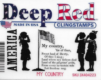 Deep Red Cling Stamps --  My Country  -- NEW -- (#3227)