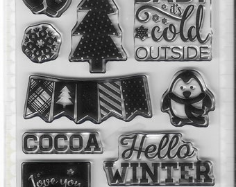 Echo Park Cling Stamps -- Snow Cold Stamp Set -- NEW -- (#3384)