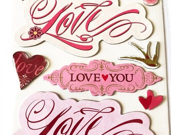 K & Company LLO  -- Love Sticker Medley --  NEW --  dimensional stickers  (#3068)