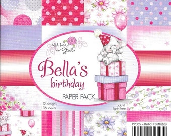 6 x 6  Paper Pad  ~~  Bella's Birthday  ~~   Wild Rose Studio Brand  ~~  NEW  (#2134)