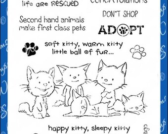 Whimsy Stamps --   Adopt Don't Shop CATS -- NEW  -- (#3136)