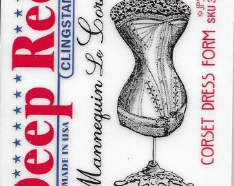 Deep Red Cling Stamps --   Corset Dress Form   -- NEW -- (#3394)
