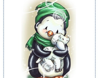 Whimsy Stamps --  Penguin Cuddles Lamb -- NEW  -- (#2692)