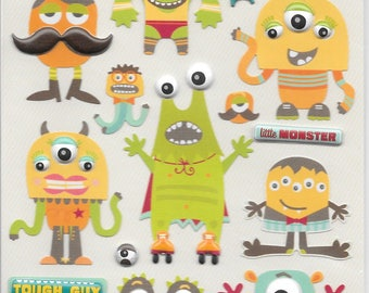 K & C LLO  -- Monsters --  NEW --  dimensional stickers  (#2532) Halloween