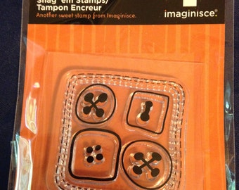 NEW --  Imaginisce Brand -- Spooky Town Collection -- Buttons --  Acrylic Stamp  (#446)