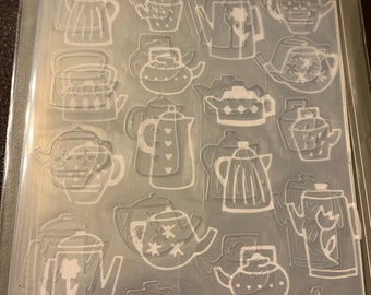 Darice Embossing Folder  --  New  --  Coffee Pots  --  (#3912)