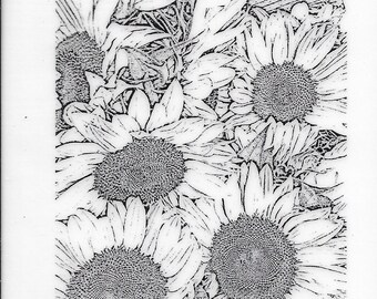 Deep Red Cling Stamps -- Sunflowers Background -- NEW -- (#3271)