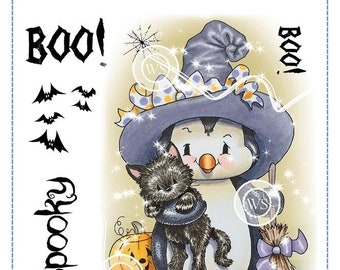Whimsy Stamps -- Penguin Spook Nite  -- NEW -- (#2829)