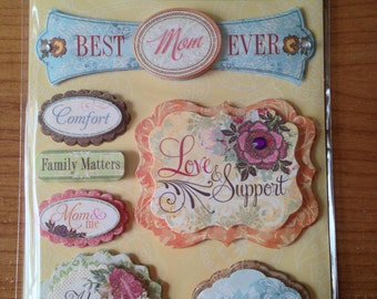 K & Company Grand Adhesions -- Mom -- NEW --  dimensional stickers (#1750)