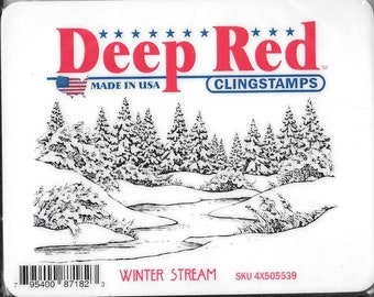 Deep Red Cling Stamps -- Winter Stream  -- NEW -- (#2930)