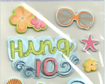 K & Company --  Beach Bum  --  9 pieces --  dimensional stickers --  NEW  --  (#1223)