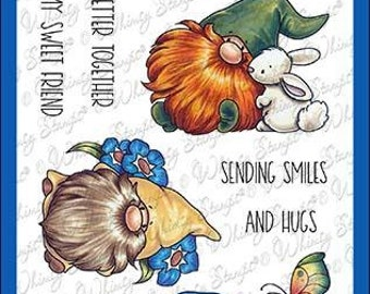 Whimsy Stamps --    Gnome Think Spring   -- NEW  -- (#4249)