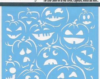 Clear Scraps Designer Stencil -- New -- Pumpkin Faces  -- (#4004)
