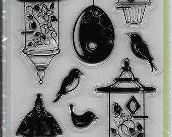 Inkadinkado Brand Clear Acrylic Stamp Set  --  NEW --Birdhouse Fun  (#2052)