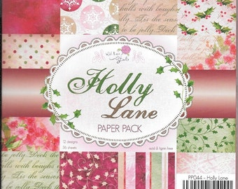 6 x 6  Paper Pad  ~~  Holly Lane  ~~  Christmas  ~~ Wild Rose Studio Brand  ~~  NEW  (#1950)